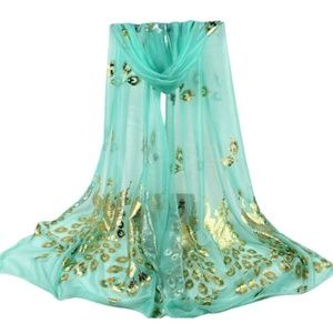 Accessories - Peacock Flower Print Scarf